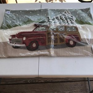 Pottery barn woody car crewel pillow cover